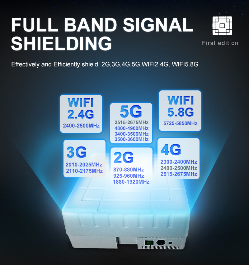A powerful jammer that shields all 2G 3g 4G 5G phone signals and WIFI 2.4G 5.8G signals