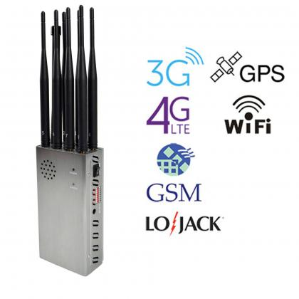 8-antenna LoJack GPS WiFi signal jammer with large battery
