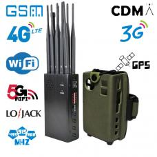 GSM UMTS 4G WiFi 2.4G / 5.8G GPS 10-wire portable jammer has good heat dissipation